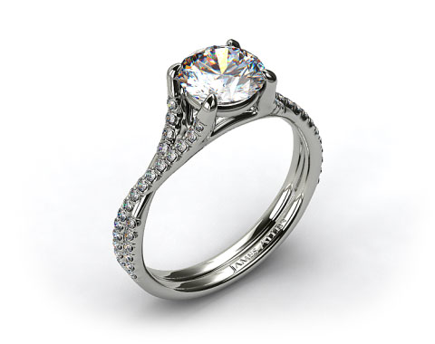 Platinum Twisted Pave Shank Contemporary Solitaire